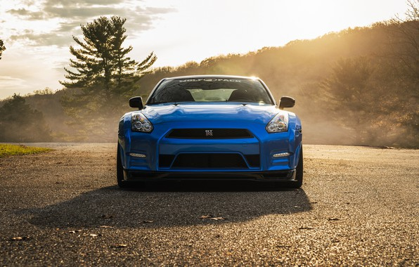 Picture GTR, Nissan, Blue, Front, R35, Sight