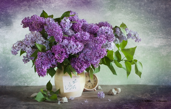 Picture watch, bouquet, lilac