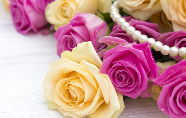 Picture background, pink, bouquet, yellow, Beads, Roses, buds