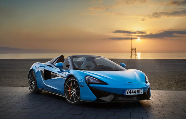 Picture sea, sunset, McLaren, convertible, blue, Spider, 570S