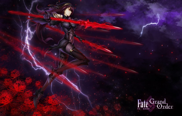 Picture the sky, girl, stars, clouds, flowers, weapons, lightning, anime, art, spear, fate/grand order, kause, scathach