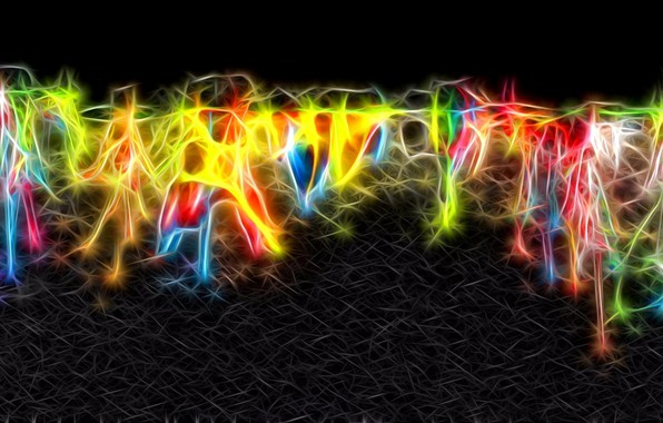 Picture abstraction, sparks, fractal, black background, computer graphics, neon lines