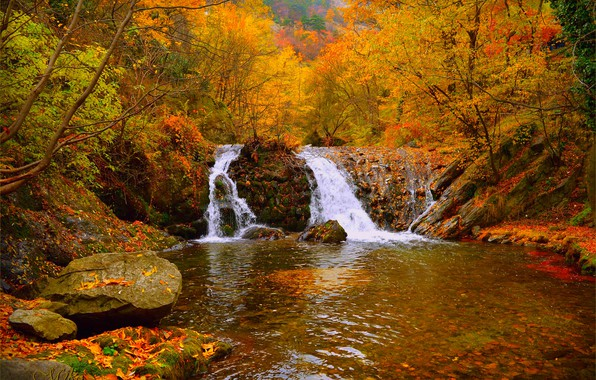 Picture Waterfall, Autumn, Forest, Fall, Autumn, Waterfall, Forest
