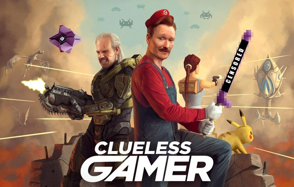 Picture destiny, gears of war, lara croft, tomb raider, mario, pokemon, Pikachu, clueless gamer, Conan O'Brien