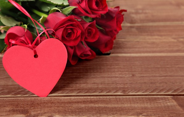 Picture flowers, holiday, heart, roses, Valentine's day