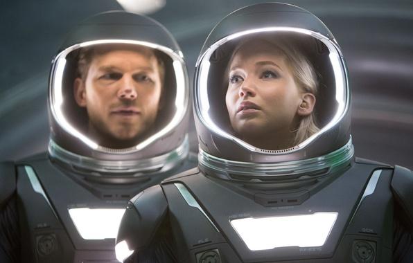 Picture cinema, space, girl, Aurora, woman, spaceship, man, movie, blonde, film, Jennifer Lawrence, space suit, Chris ...