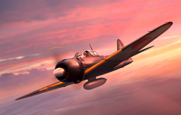 Photo wallpaper Mitsubishi, painting, Fighter, Aircraft, WWII, A6M5 Zero, Japanese Navy