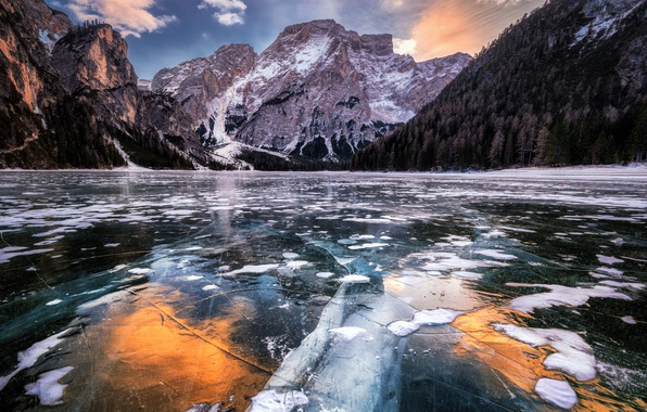 Picture mountains, nature, lake, ice