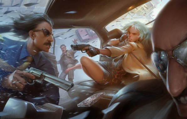Picture girl, gun, Charlize Theron, art, glasses, the bandits, gang, killer, Lorraine Broughton, Atomic Blonde
