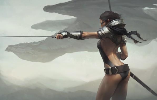 Picture girl, sword, fantasy, armor, weapon, Warrior, painting, dragon, digital art, artwork, fantasy art, fantasy girl