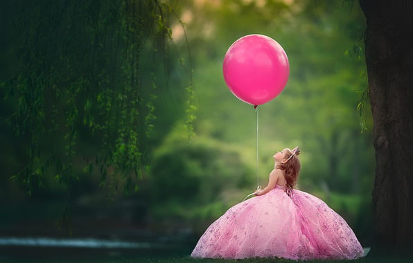 Picture balloon, mood, ball, crown, dress, girl, little Princess