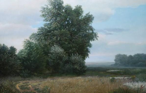 Picture clouds, trees, landscape, marshland, Karaganda, Aibek Begalin, Two thousand ten
