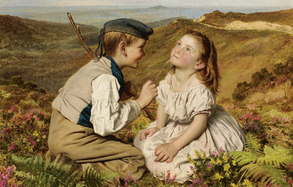 Picture joy, childhood, boy and girl, It's touch and go, to laugh or no, Sophie Of …