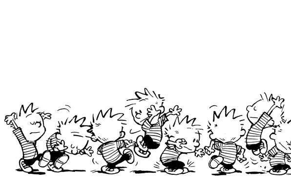Picture b/W, comic, jumping, dancing, Calvin, Calvin