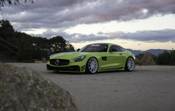 Picture Roadster, Mercedes, Clouds, Sky, Green, AMG, Stone, GT C