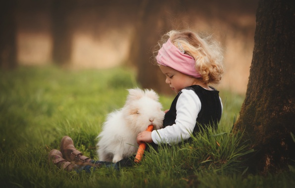 Picture grass, nature, tree, animal, rabbit, girl, trunk, carrots, child