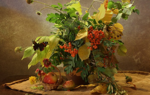 Picture autumn, leaves, branches, table, butterfly, apples, bouquet, vase, still life, basket, burlap, Rowan