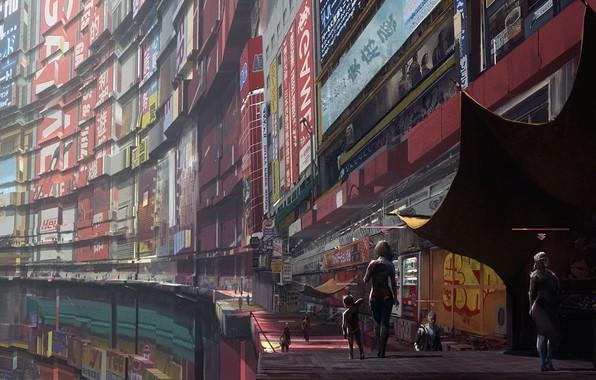 Picture future, City, fantasy, science fiction, people, sci-fi, cyberpunk, child, buildings, artwork, fantasy art, walkway, futuristic, …