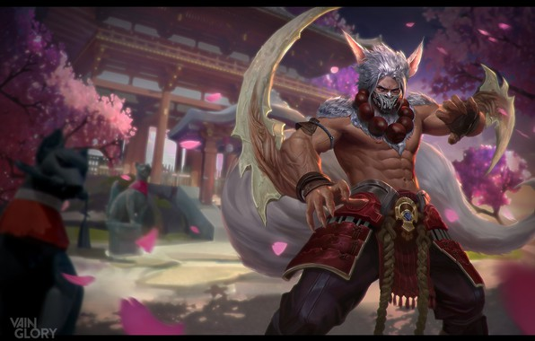 Picture the game, spring, Sakura, warrior, fantasy, art, Illustrator, Skil, Mushk Rizvi, Vainglory: Taka T3