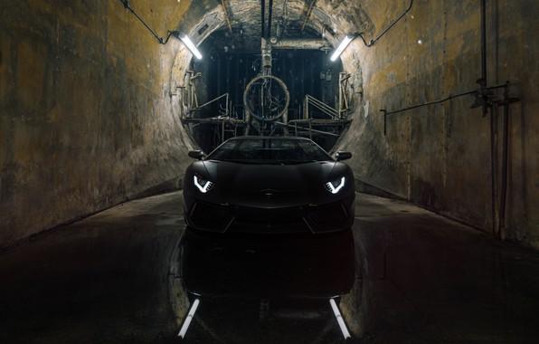 Picture Lamborghini, Black, LP700-4, Aventador, Hole
