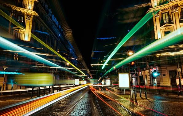 Picture the city, street, excerpt, blur, night, bokeh, wallpaper., feel of speed, line speed, strip lights, …