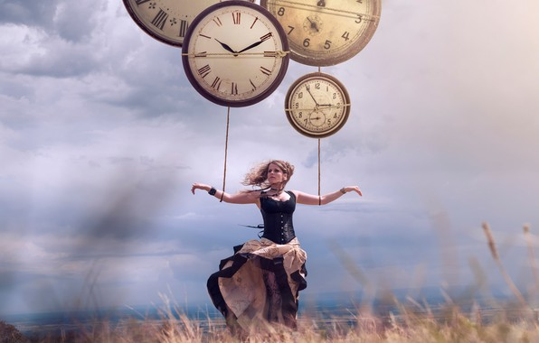 Picture girl, the wind, watch, Vincent Bourilhon, Holding by the time