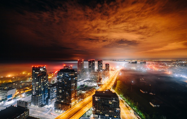 Picture light, night, the city, lights, home, the evening