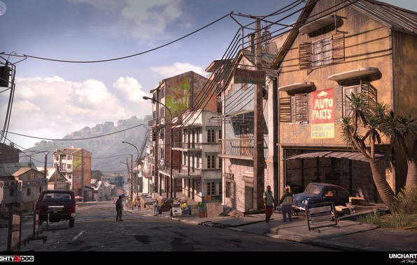 Picture the city, people, street, home, Uncharted 4, City Chase Modeling Part1