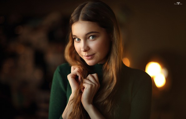 Picture look, face, smile, background, portrait, hands, Christina, Dmitry Arhar
