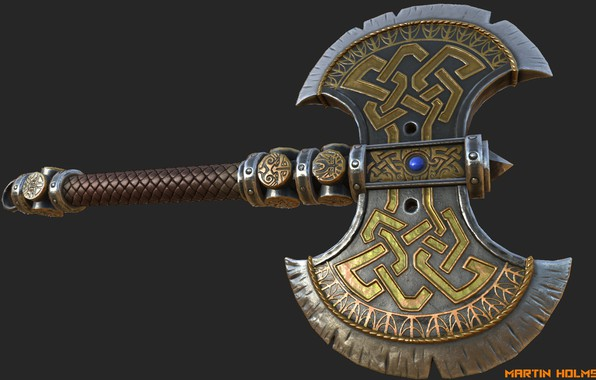 Picture weapons, the game, art, martin holmstrom, Warhammer Axe, warhammer online, Labrys