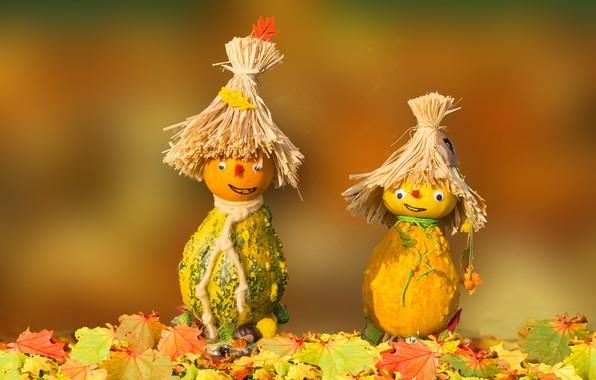 Picture autumn, pumpkin, figures