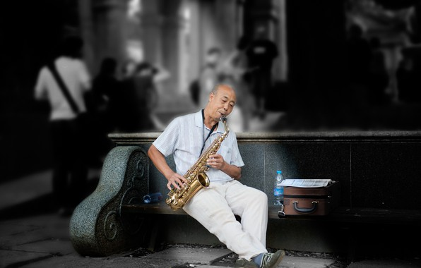 Picture music, saxophonist, street musician