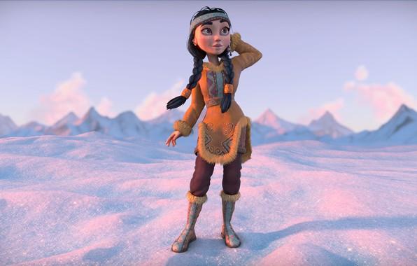 Picture winter, girl, snow, mountains, costume, outfit, Egor Ilyin, Eskimo