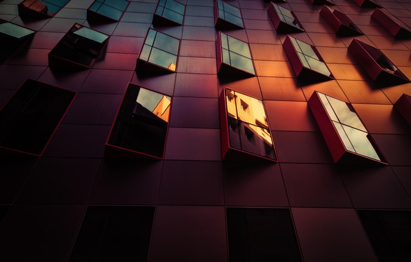 Picture light, reflection, the city, house, the building, Windows, glass
