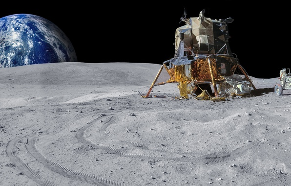 Picture planet, The moon, Earth, lander, Rover, Apollo