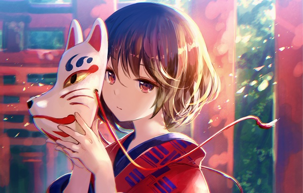 Picture girl, mask, kimono, anime, art