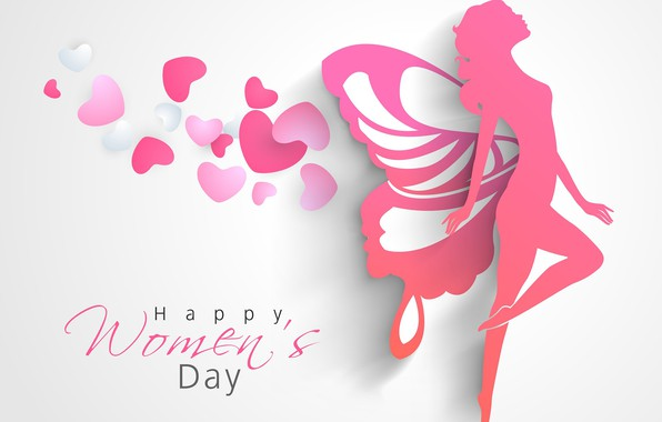 Picture heart, silhouette, fairy, March 8