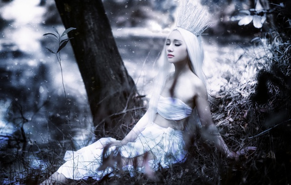 Picture girl, nature, crown, Asian