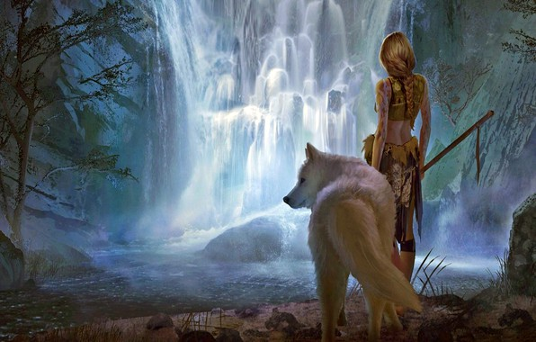 Picture girl, fantasy, forest, river, landscape, weapon, nature, Warrior, waterfall, braid, animal, wolf, blonde, digital art, …