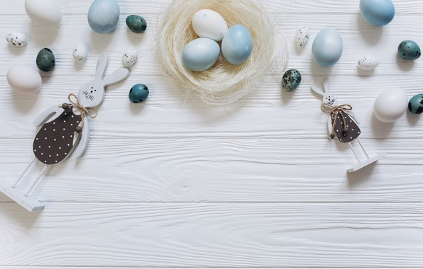 Picture eggs, blue, Easter, white, white, wood, blue, spring, Easter, eggs, bunny, decoration, Happy, tender