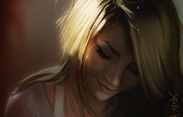 Picture face, eyelashes, blonde, shoulders, closed eyes, portrait of a girl, in the shadows