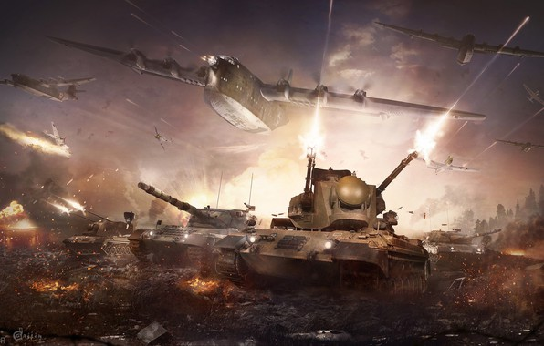 Picture explosions, battle, the battle, tanks, aircraft, warthunder, Wildcats under fire