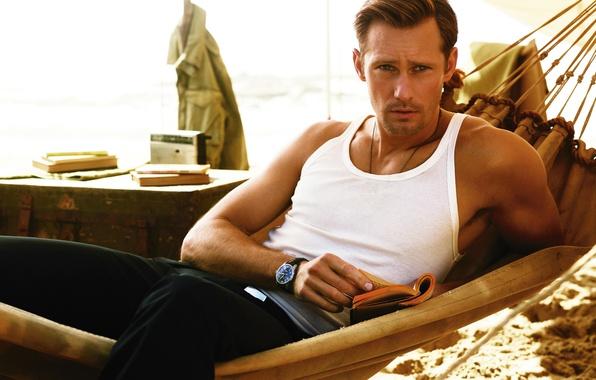 Picture look, watch, Mike, hammock, book, male, beautiful, Alexander Skarsgard, Alexander Skarsgard