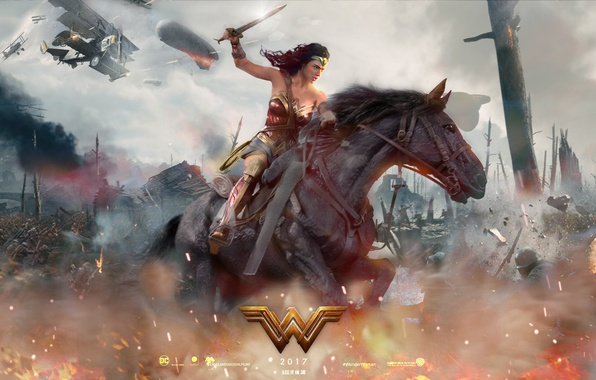 Picture cinema, fire, battlefield, flame, sword, gun, Wonder Woman, dirigible, armor, weapon, war, man, army, fight, ...
