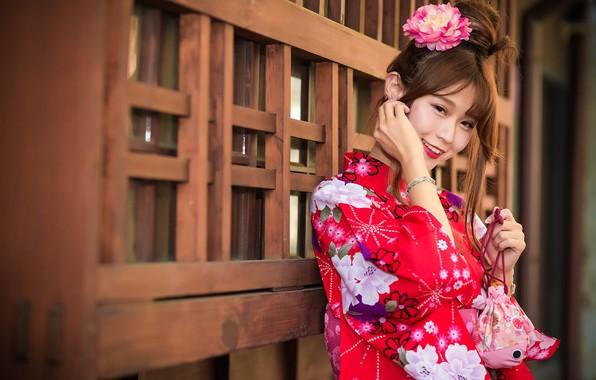 Picture girl, smile, kimono, Asian, cutie