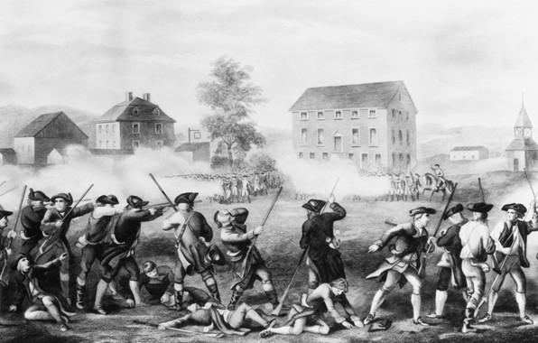 Picture battle, black and white, the battle, 1775, Others Battle Of Lexington