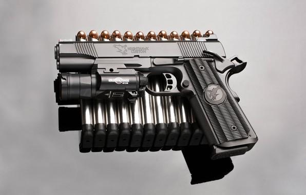 Picture gun, background, bullets