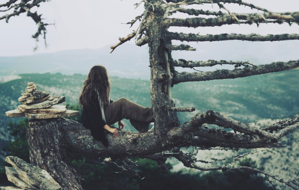 Picture girl, nature, tree, mood, view