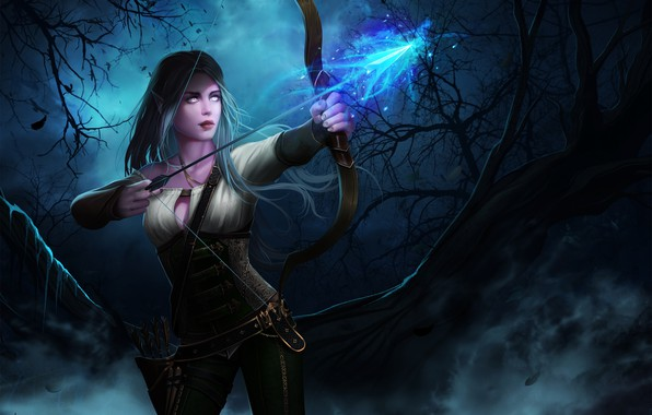 Photo Wallpaper Forest Girl Night Elf Bow Arrow World Of