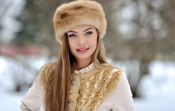 Picture Nature, Winter, Girl, Coat, Sarka